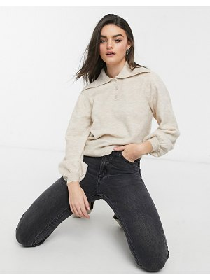 ASOS DESIGN sweater with wide collar and button placket in stone