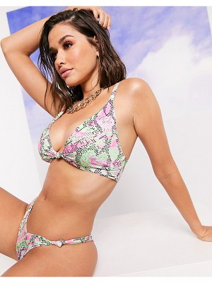ASOS DESIGN swim glam recycled fuller bust mix and match knot front crop bikini top in marble snake print dd-g-multi