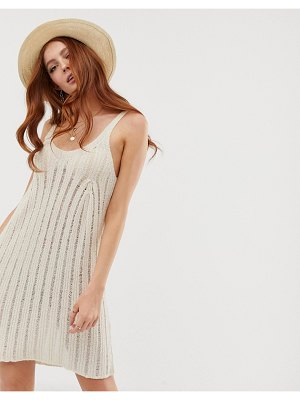 ASOS DESIGN swing dress with ladder stitch in natural look yarn-cream