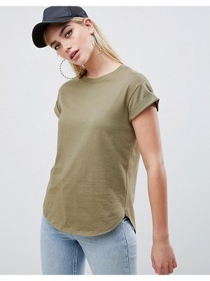 ASOS DESIGN t-shirt in boyfriend fit with rolled sleeve and curved hem in khaki-green