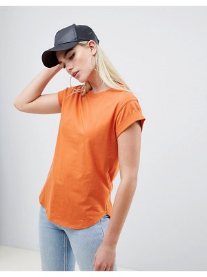 ASOS DESIGN t-shirt in boyfriend fit with rolled sleeve and curved hem in rust-red