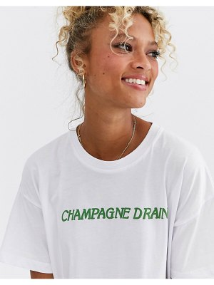 ASOS DESIGN t-shirt with champagne drain motif-white