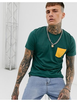 ASOS DESIGN t-shirt with contrast pocket in green
