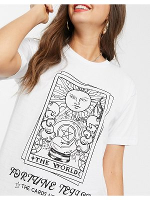 ASOS DESIGN t-shirt with fortune print-white