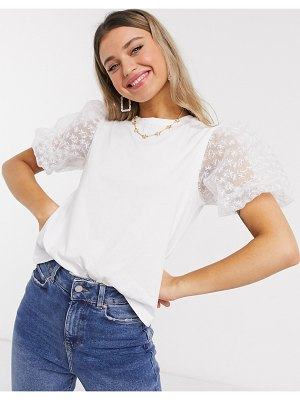 ASOS DESIGN t-shirt with organza sleeve-white