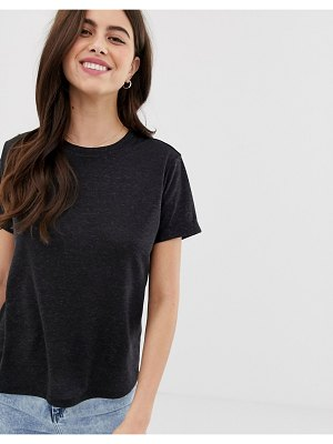 ASOS DESIGN t-shirt with roll sleeve in linen mix in black