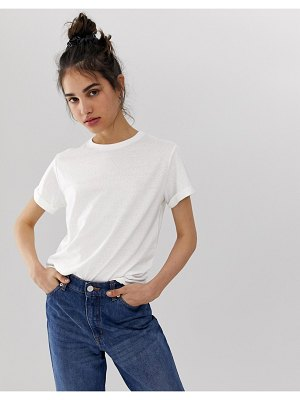 ASOS DESIGN t-shirt with roll sleeve in linen mix in white