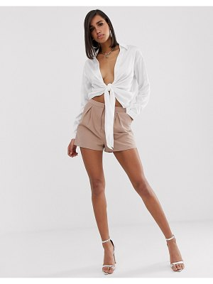 ASOS DESIGN tailored a-line shorts with pleat front-beige