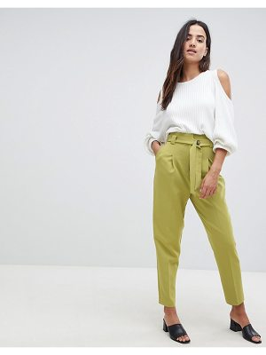 ASOS DESIGN tailored contrast button belt tapered PANTS