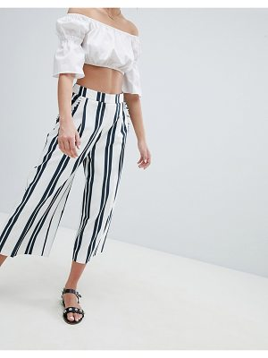 ASOS DESIGN tailored culotte with ruffle pockets in stripe
