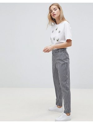 ASOS DESIGN tailored gingham tapered PANTS with belt and buckle detail