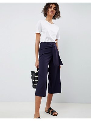 ASOS DESIGN tailored high waist tie front culotte