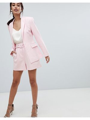 ASOS DESIGN tailored shorts in pink with belt