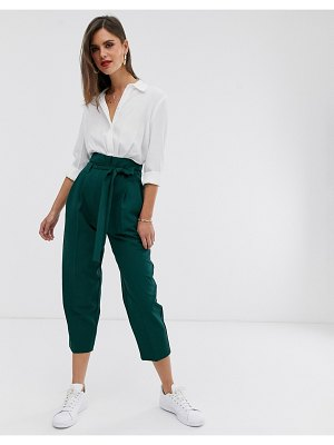 ASOS DESIGN tailored tie waist tapered ankle grazer pants-green