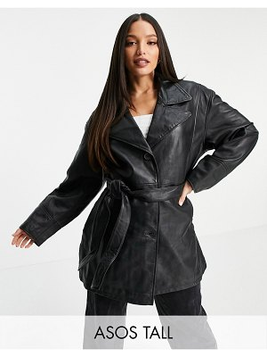 ASOS DESIGN tall 90s mum leather jacket in black