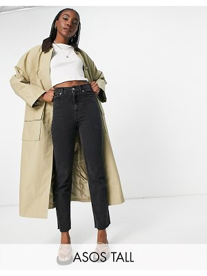 ASOS DESIGN tall cord collared boyfriend trench coat in brown
