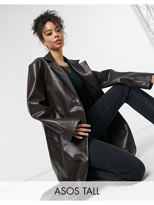 ASOS DESIGN tall leather look trench coat in brown