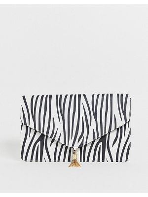 ASOS DESIGN tassel clutch bag in zebra print