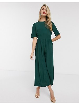 ASOS DESIGN tea jumpsuit with button back detail-green