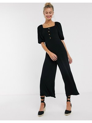 ASOS DESIGN tea jumpsuit with button front and puff sleeve in rib-black