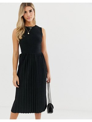 ASOS DESIGN textured midi dress with pleated skirt in black
