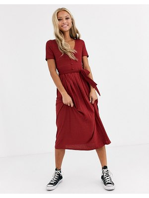 ASOS DESIGN textured midi pleated dress with belt in red