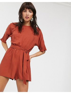 ASOS DESIGN tie waist romper in rust-multi