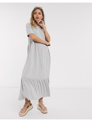ASOS DESIGN tiered smock t-shirt midi dress in gray marl