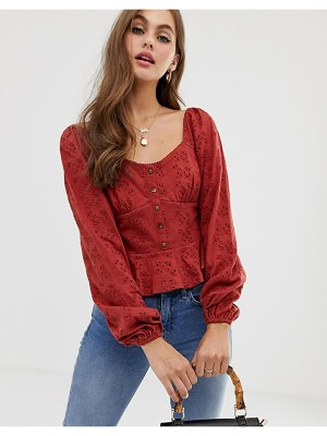ASOS DESIGN top in broderie with button front and peplum