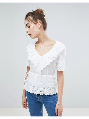 ASOS DESIGN Top In Broderie With V Neck