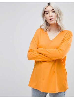 ASOS DESIGN top with v-neck in oversized lightweight rib in orange