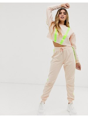 ASOS DESIGN tracksuit cropped sweat / jogger with reflective tape-beige