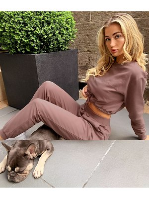 ASOS DESIGN tracksuit cropped sweat with california embroidery / jogger in putty-brown