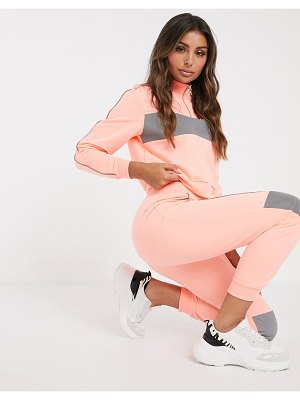 ASOS DESIGN tracksuit zip through sweat with reflective panel / slim jogger-pink