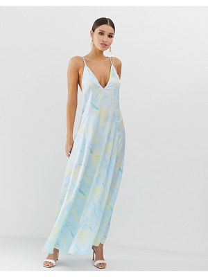 ASOS DESIGN trapeze maxi dress in satin marble print-multi