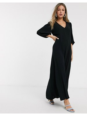ASOS DESIGN trapeze maxi dress with puff sleeve in crinkle in black