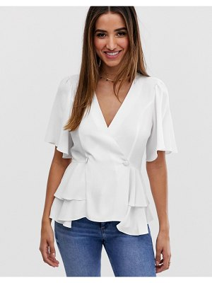 ASOS DESIGN tux top with angel sleeve and button detail in ivory-white