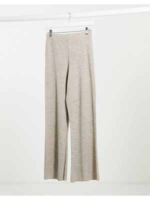 ASOS DESIGN two-piece knitted wide leg pants in oatmeal-beige