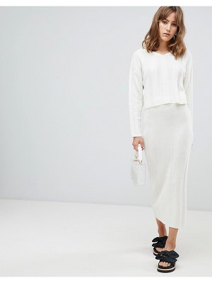 ASOS two-piece midi skirt in wide rib