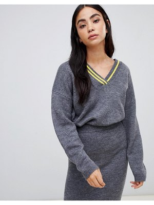 ASOS DESIGN two-piece v neck sweater with tipping-gray