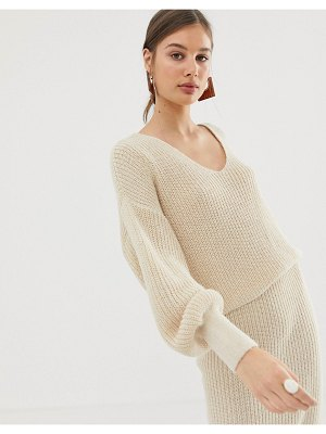 ASOS DESIGN two-piece v neck sweater with volume sleeve-stone