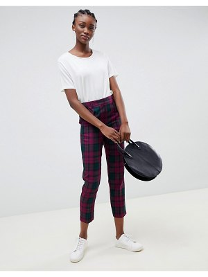 ASOS DESIGN ultimate check ankle grazer pants in purple check-multi