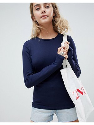 ASOS DESIGN ultimate top with long sleeve and crew neck in navy