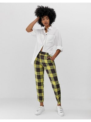 ASOS DESIGN ultimate yellow check ankle grazer pants-multi