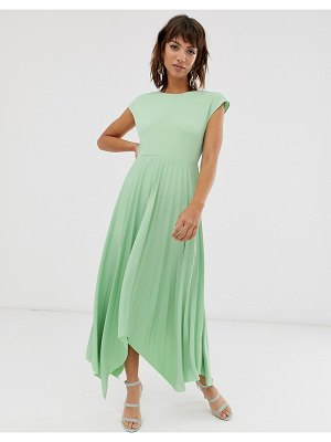 ASOS DESIGN v back midi dress with pleated asymmetric skirt-green