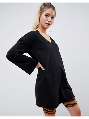 ASOS DESIGN v front and back raw edged sweat dress
