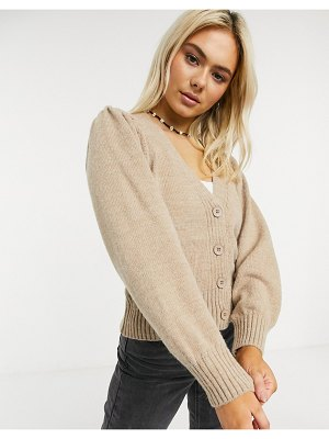 ASOS DESIGN v neck cardigan with puff sleeve in taupe-stone