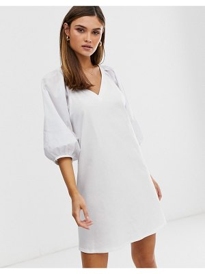 ASOS DESIGN v neck mini dress with woven puff sleeves in white
