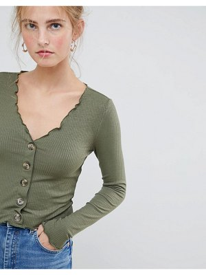 ASOS DESIGN v neck top in rib with button front and long sleeve