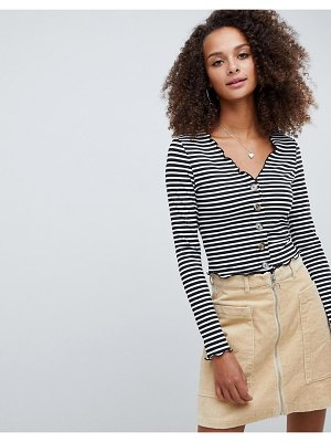 ASOS DESIGN v neck top in rib with button front and long sleeve in stripe
